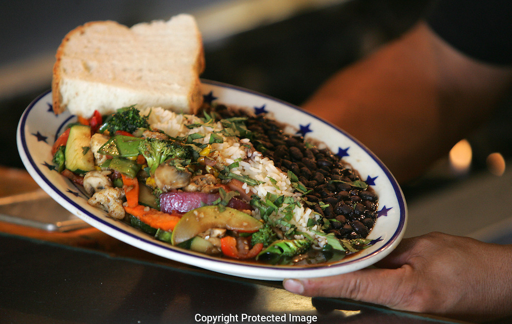 The Starliner Diner's Pan Roasted Vegetables.served with black beans on steamed rice for $9.25. (Jodi Miller/Alive)..