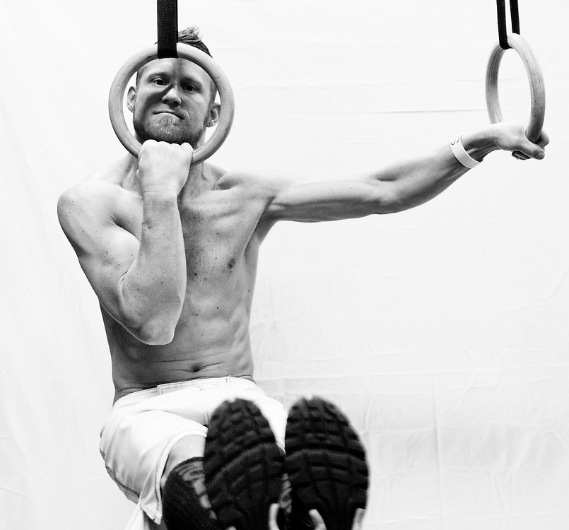 Josh Corley, Crossfit image, picture, photo, photography of health, elite, exercise, training, workouts, WODs, L-Sit, Gymnastic Rings, taken at Progressive Fitness CrossFit,Colorado Springs, Colorado, USA.