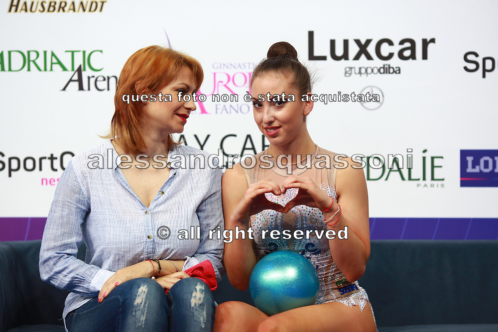Branimira Markova, on left, coach of Bulgaria in Rhythmic gymnastics whith Taseva Katrin on Kiss and Cry in world Cup of Pesaro 2018. Katrin is a Bulgarian gymnast born in Samokov on November 24, 1997. She is a member of the Bulgarian National team since 2010.