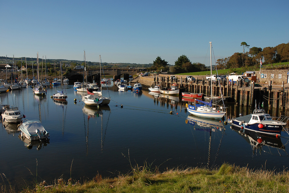 Axmouth harbour; boats moored within Axmouth Harbour, near Seaton, South Devon.  Axmouth Harbour is a sheltered harbour  lies within Lyme Bay, behind Seaton Beach.  It is part of the Jurassic Coast World Heritage Site.