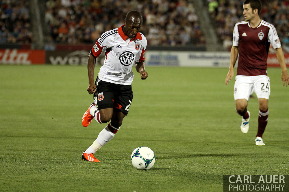 July 7th, 2013 - D.C. United midfielder Sainey Nyassi (27) attacks with the ball in the second half of action in the Major League Soccer match between D.C. United and the Colorado Rapids at Dick's Sporting Goods Park in Commerce City, CO