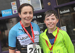 Mother and Son Sharon and Niall McGreal after the Streets of Westport 5K run on New Year's Day.<br /> Pic Conor McKeown