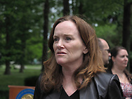 Hempstead, New York, USA. May 30, 2019. U.S. Representative Kathleen Rice (NY-04) looks serious as she listens to people after her press conference to announce she's introducing Three Bills to Congress to Combat Impaired and Distracted Driving. Congresswoman Rice announced the package of 3 bills - End Drunk Driving Act, the Prevent Impaired Driving Child Endangerment Act, and the Distracted Driving Education Act of 2019 - at the Drunk Driving Victims Memorial in Eisenhower Park.