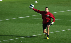 CARDIFF, WALES - Monday, October 15, 2012: Wales' goalkeeper Lewis Price during a training session at the Cardiff City Stadium ahead of the Brazil 2014 FIFA World Cup Qualifying Group A match against Croatia. (Pic by David Rawcliffe/Propaganda)