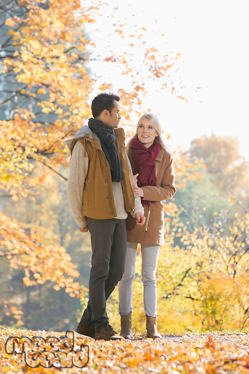 Full length of couple walking in park during autumn