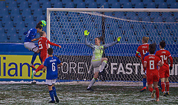 CESENA, ITALY - Tuesday, January 22, 2019: Italy's Ilaria Mauro wins a header to score the first goal during the International Friendly between Italy and Wales at the Stadio Dino Manuzzi. (Pic by David Rawcliffe/Propaganda)