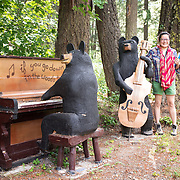 Bear art on the side of the road.  D'Arcy, near Anderson Lake, British Columbia.