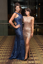 © Licensed to London News Pictures . 09/11/2013 . Manchester , UK . Fashion designer Nadine Merabi and Hollyoaks actress Stephanie Waring . Hearts and Minds charity ball in aid of children with autism , this evening (9th November 2013) at the Hilton Hotel on Deansgate in Manchester . Photo credit: Joel Goodman/LNP