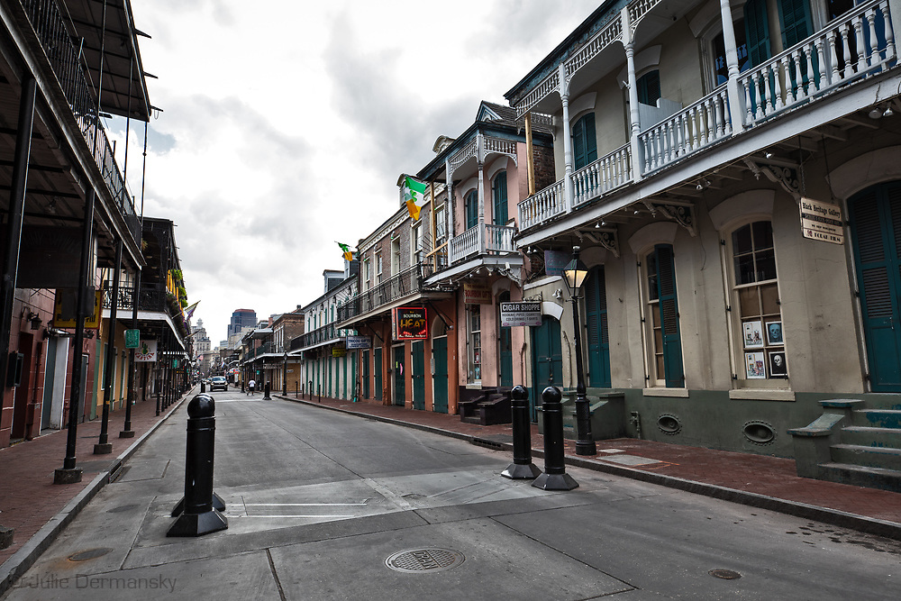 Bourbon Street in New Orleans on March 27, 2020. New Orleans , major city, USA