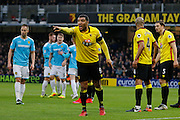 Watford striker Troy Deeney (9) organises the Watford defence for a Burton Albion corner during the The FA Cup 3rd round match between Watford and Burton Albion at Vicarage Road, Watford, England on 7 January 2017. Photo by Richard Holmes.