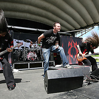 The band SoulSwitch plays during their performance at the Rockstar Energy Drink Uproar festival at the 1-800-Ask-Gary amphitheater in Tampa, Florida on Thursday, September 13, 2012. (AP Photo/Alex Menendez)