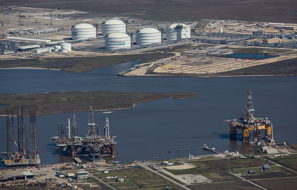 Cheniere Energy Inc. LNG facility along the Sabine Pass in Cameron Louisiana.