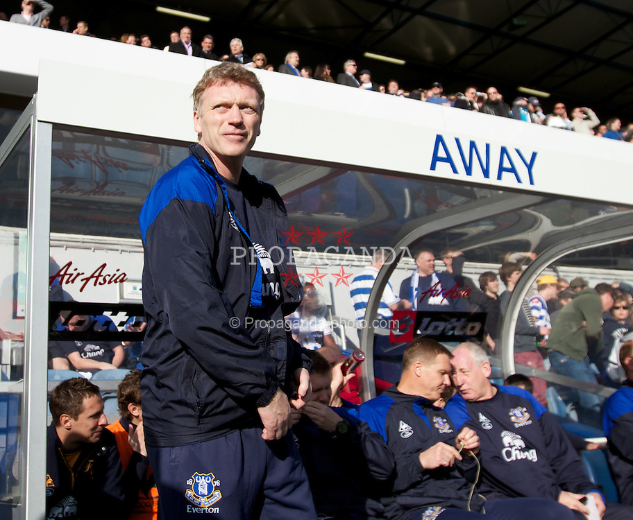 LONDON, ENGLAND - Saturday, March 3, 2012: Everton's manager David Moyes before the Premiership match against Queens Park Rangers at Loftus Road. (Pic by Vegard Grott/Propaganda)