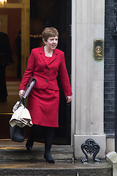 Downing Street, London, December 8th 2015. Leader of the House of Lords Baroness Stowell leaves Downing Street following the weekly cabinet meeting.