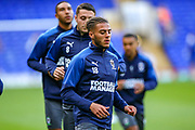 AFC Wimbledon defender Nesta Guiness-Walker (18) warms up during the EFL Sky Bet League 1 match between Ipswich Town and AFC Wimbledon at Portman Road, Ipswich, England on 20 August 2019.
