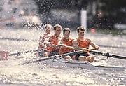 Henley on Thames,  United Kingdom, Men's coxed four, M4+ Syracuse University, 1988 Henley Royal Regatta, Henley Reach, Thames Valley, British Summertime.<br /> [Mandatory Credit, Peter SPURRIER/Intersport Images] <br /> <br /> Scans from Positives, April 2019