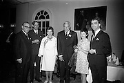 16/06/1967<br /> 06/16/1967<br /> 16 June 1967<br /> General Assembly of the Wine and Spirit Federation Farewell dinner at the Hibernian Hotel, Dublin, that ended the 1967 General Assembly of the Federation Internationale des Industries et du Commerce en Gros des Vines, Spiriteux, Eaux-de-vie, et Liqueurs, held in Dublin for the first time.Picture shows (l-R): Mr Alexandre Zulas, Federation of Greek Industries and new Vice-President of the International Federation; Mr F.J. O'Reilly, Chairman, John Power and Son Ltd.; Mrs Robert Bangerter(?); Mr. Carl Tesdorpf, President of the Federation, from Germany; Mrs and Mr Whelan, Marketing Director, Bord Failte at the dinner.