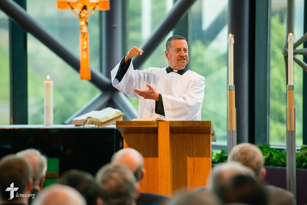The Rev. William Weedon, chaplain, preaches during floor-committee weekend at the International Center of The Lutheran Church–Missouri Synod on Friday, May 27, 2016, in Kirkwood, Mo. LCMS Communications/Erik M. Lunsford