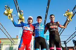 Second placed Primoz Roglic of Adria Mobil (SLO), winner  Gregor Muhllberger of Team Felbermayr Simplon Wels Team (AUT) and third placed Paolo Ciavatta of D'amico Bottecchia (ITA) during trophy ceremony after the UCI Class 1.2 professional race 2nd Grand Prix Izola, on March 1, 2015 in Izola / Isola, Slovenia. Photo by Vid Ponikvar / Sportida