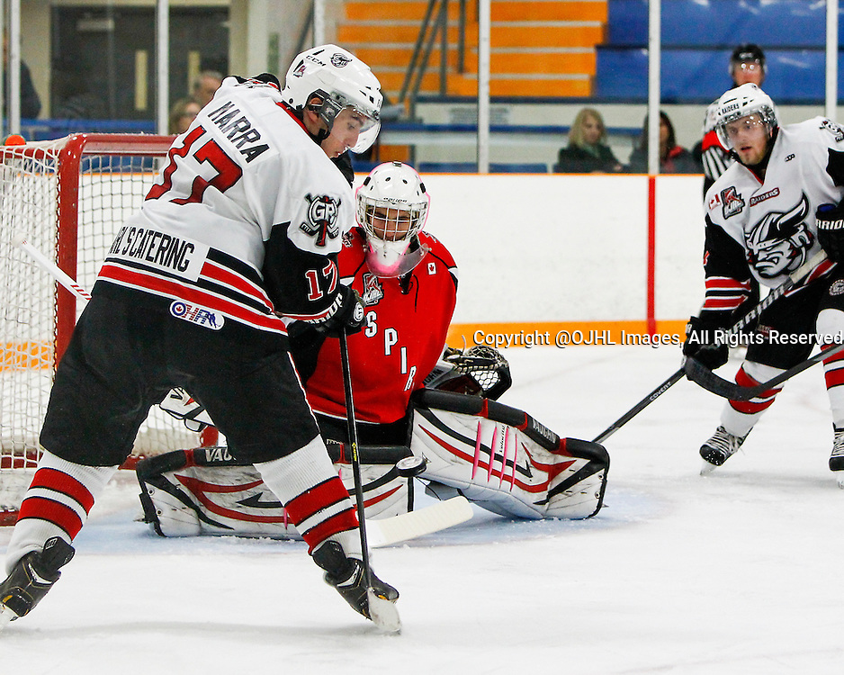 STOUFFVILLE, ON - Oct 4, 2014 : Ontario Junior Hockey League game action between Georgetown and Stouffville, Anthony Marra #17 passes the puck during the second period.<br /> (Photo by Brian Watts / OJHL Images)