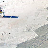 Africa, South Africa, Wilderness. Lifeguard tower on sand at Wilderness Beach on the Garden Route.