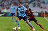 SYDNEY, AUSTRALIA - APRIL 13: Sydney FC midfielder Paulo Retre (8) dribbles the ball at round 25 of the Hyundai A-League Soccer between Western Sydney Wanderers and Sydney FC  on April 13, 2019 at ANZ Stadium in Sydney, Australia. (Photo by Speed Media/Icon Sportswire)
