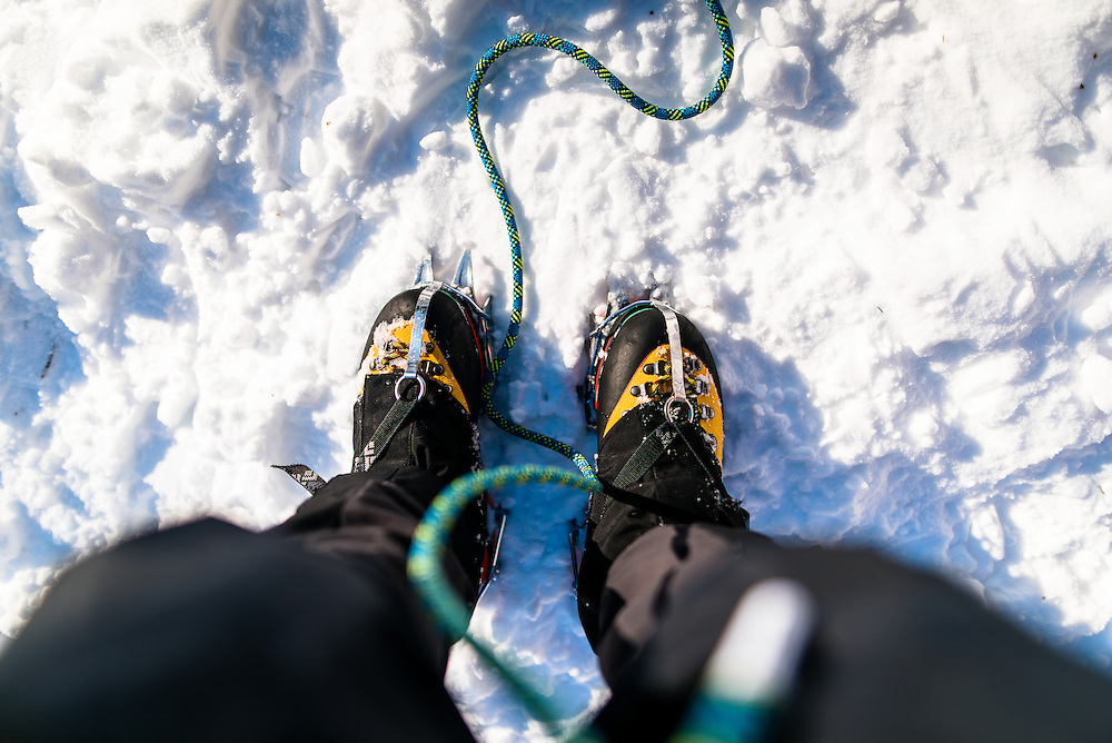 Crampons at the base of Willey Slide