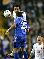 Photo: Tom Dulat.<br /> Tottenham Hotspur v Getafe. UEFA Cup. 25/10/2007.<br /> Esteban Granero of Getafe and Dimitar Berbatov of Tottenham Hotspur heading for the ball.
