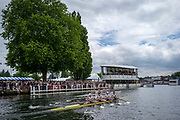 Henley Royal Regatta, 3-7 July 2019. Henley Rowing Club A, (top), leading Claires Court School, (bottom), as they pass Stewards' Enclosure, in their Semi-Final, of the Fawley Challenge Cup, Royal Henley Peace Regatta Centenary, 1919-2019. Henley on Thames.<br /> <br /> <br /> <br /> [Mandatory Credit: Patrick WHITE/Intersport Images], 6, 06/07/2019,  14:57:25
