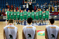 Players of Slovenia listening to the national anthem during the fifth-place basketball match between National teams of Slovenia and Spain at 2010 FIBA World Championships on September 10, 2010 at the Sinan Erdem Dome in Istanbul, Turkey.   (Photo By Vid Ponikvar / Sportida.com)