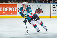 KELOWNA, CANADA - MARCH 3: Liam Kindree #26 of the Kelowna Rockets skates with the puck against the Spokane Chiefs on March 3, 2018 at Prospera Place in Kelowna, British Columbia, Canada.  (Photo by Marissa Baecker/Shoot the Breeze)  *** Local Caption ***