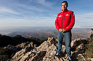 "SPAIN, Alicante, 2nd November 2011. Volvo Ocean Race. The ""Everest of the ocean"" photo shoot atop the Cabeco d'Or. Mike Sanderson, skipper, Team Sanya."