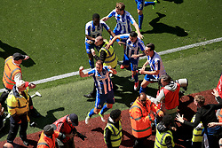 7 May 2017 - EFL Championship Football - Aston Villa v Brighton and Hove Albion - Glenn Murray of Brighton and Hove Albion tries to evade stewards and photographers after opening the scoring (0-1) - Photo: Paul Roberts / Offside