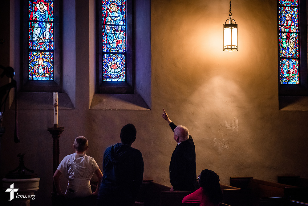 The Rev. Charles McClean tours his young members of his confirmation class around Our Savior Lutheran Church on Saturday March 24, 2018, in Baltimore. LCMS Communications/Erik M. Lunsford