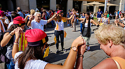 Catalans dancing the Sardana, a traditional dance in the Palau de la Generalitat de Catalunya near Barcelona Cathedral<br /> <br /> (c) Andrew Wilson | Edinburgh Elite media