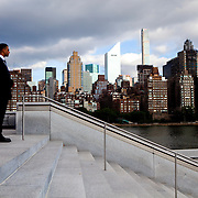 NEW YORK, N.Y. - JUNE 13, 2015: A U.S. Secret Service agent stands guard at Four Freedoms Park on Roosevelt Island to hear Hillary Clinton give the first public speech of her presidential campaign. CREDIT: Sam Hodgson for The New York Times
