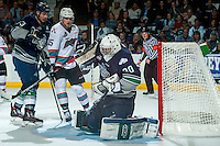 KELOWNA, CANADA - APRIL 22: Landon Bow #30 of Seattle Thunderbirds makes a save against the Kelowna Rockets on April 22, 2016 at Prospera Place in Kelowna, British Columbia, Canada.  (Photo by Marissa Baecker/Shoot the Breeze)  *** Local Caption *** Landon Bow;