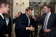 ZAC GOLDSMITH; JAMES ROTHSCHILD; ALEX TULLOCH; BEN ELLIOT; MILES FROST, Book launch of Lady Annabel Goldsmith's third book, No Invitation Required. Claridges's. London. 11 November 2009