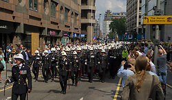 Image &copy;Licensed to i-Images Picture Agency. 25/07/2014. London, United Kingdom. Royal Marines March through the City of London. . Picture by Anthony Upton / i-Images<br /> Royal Marines exercise their traditional right to march through the City of London, \'with Bayonets Fixed and Drums Beating\', as part of the 350th Anniversary Celebrations.