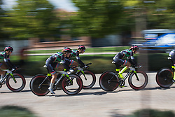Parkhotel Valkenburg - Destil Cycling Team riders roll of the start ramp during Stage 1 of the Madrid Challenge - a 12.6 km team time trial, starting and finishing in Boadille del Monte on September 15, 2018, in Madrid, Spain. (Photo by Balint Hamvas/Velofocus.com)