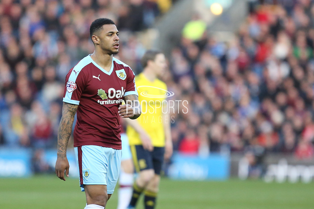 Andre Gray of Burnley during the Sky Bet Championship match between Burnley and Middlesbrough at Turf Moor, Burnley, England on 19 April 2016. Photo by Simon Brady.
