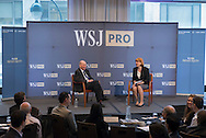 Laura Kreutzer interviews Bryon Wien of Blackstone Group at The WSJpro Private Equity event in New York City on April 29, 2016. (photo by Gabe Palacio)
