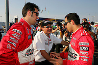 Sam Hornish Jr., Tim Cindric and Helio Castroneves at the Richmond International Raceway, SunTrust Indy Challenge, June 25, 2005