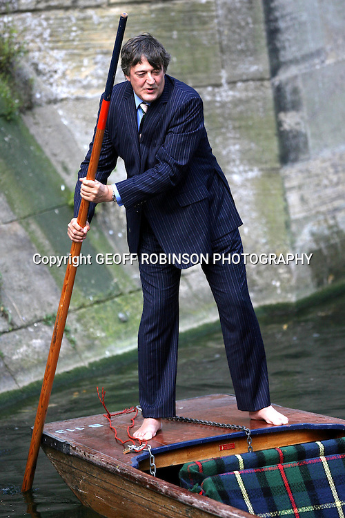 .Actor and Cambridge student Student Fry struggled to stay upright aboard a punt on the river Cam in his old university city...The ex Cambridge Footlights man was back in old alma mater filming a new series of his award winning  drama Kingdom for ITV...