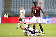 Torino FC's French midfielder Soualiho Meite clashes with Parma Calcio's Slovak midfielder Juraj Kucka during the Serie A match at Stadio Grande Torino, Turin. Picture date: 20th June 2020. Picture credit should read: Jonathan Moscrop/Sportimage
