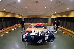 DUBLIN, IRELAND - Tuesday, October 16, 2018: The equipment staff lay out the kit in the dressing room before the UEFA Nations League Group Stage League B Group 4 match between Republic of Ireland and Wales at the Aviva Stadium. (Pic by David Rawcliffe/Propaganda)