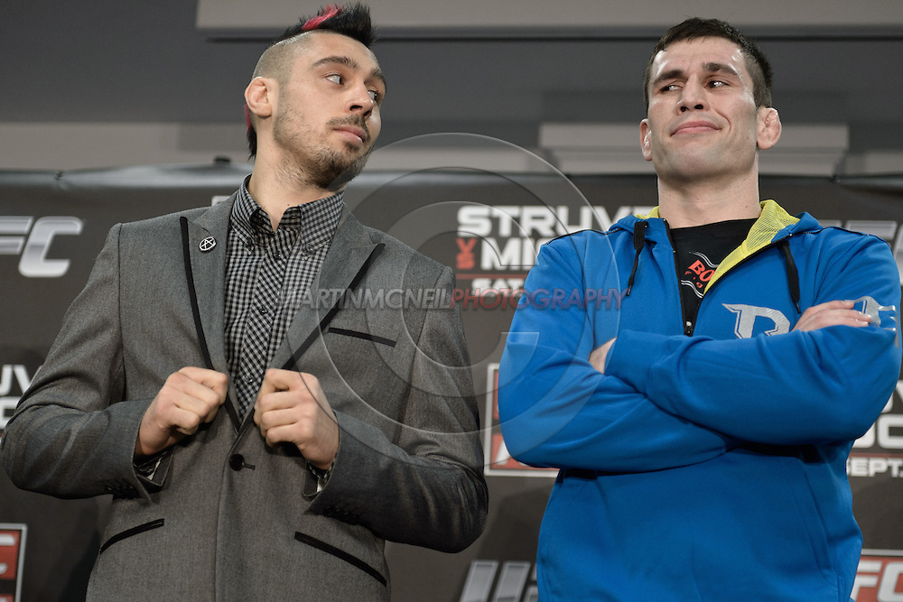 "NOTTINGHAM, ENGLAND, SEPTEMBER 27, 2012: Dan Hardy and Amir Sadollah face off during the pre-fight press conference for ""UFC on Fuel TV: Struve vs. Miocic"" inside the Hilton Hotel in Nottingham , United Kingdom on Thursday, Septermber 27, 2012"
