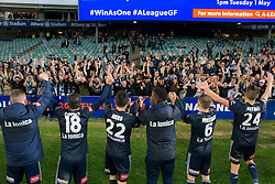 April 28, 2018 - Sydney, NSW, U.S. - SYDNEY, NSW - APRIL 28: Melbourne Victory celebrate their win with the travelling fans at the A-League Soccer Semi Final Match between Sydney FC and Melbourne Victory on April 28, 2018 at Allianz Stadium in Sydney, Australia. (Photo by Speed Media/Icon Sportswire) (Credit Image: © Speed Media/Icon SMI via ZUMA Press)
