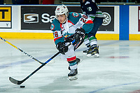 KELOWNA, CANADA - APRIL 30: Leif Mattson #28 of the Kelowna Rockets skates with the puck against the Seattle Thunderbirds on April 30, 2017 at Prospera Place in Kelowna, British Columbia, Canada.  (Photo by Marissa Baecker/Shoot the Breeze)  *** Local Caption ***
