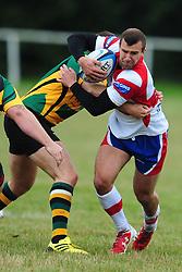 WELLINGBOROUGHS TOM MAIR ATTACKS BUGBROOKES DEFENCE, Wellingborough Rugby RFC v Bugbrooke RFC, Midlands 1 East League, Cut Throat Lane Gound, Gt Doddington, Saturday 3rd September 2016
